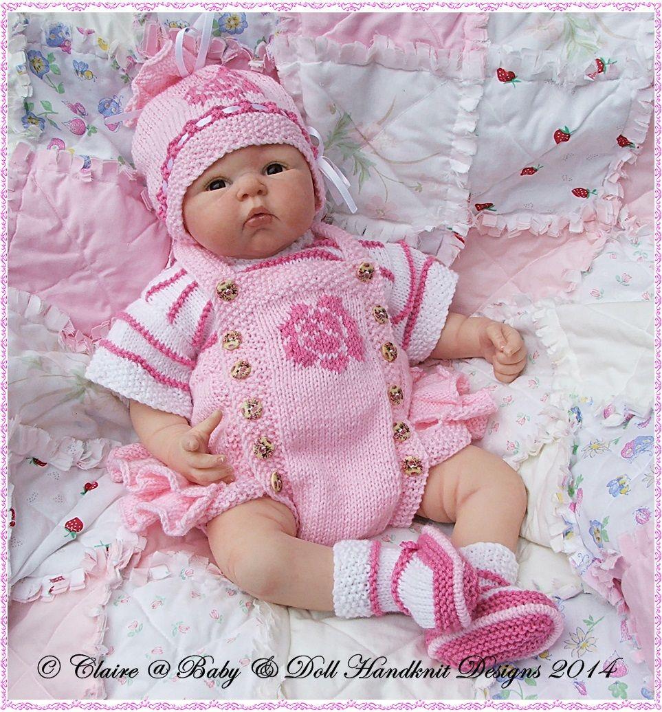 Frilled Rose Motif Romper Set 16 22 Doll Preemie 3m