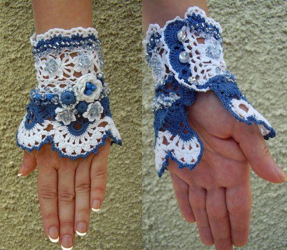 Crochet bracelet, Crochet cuff, White and blue cotton cuff, White ...