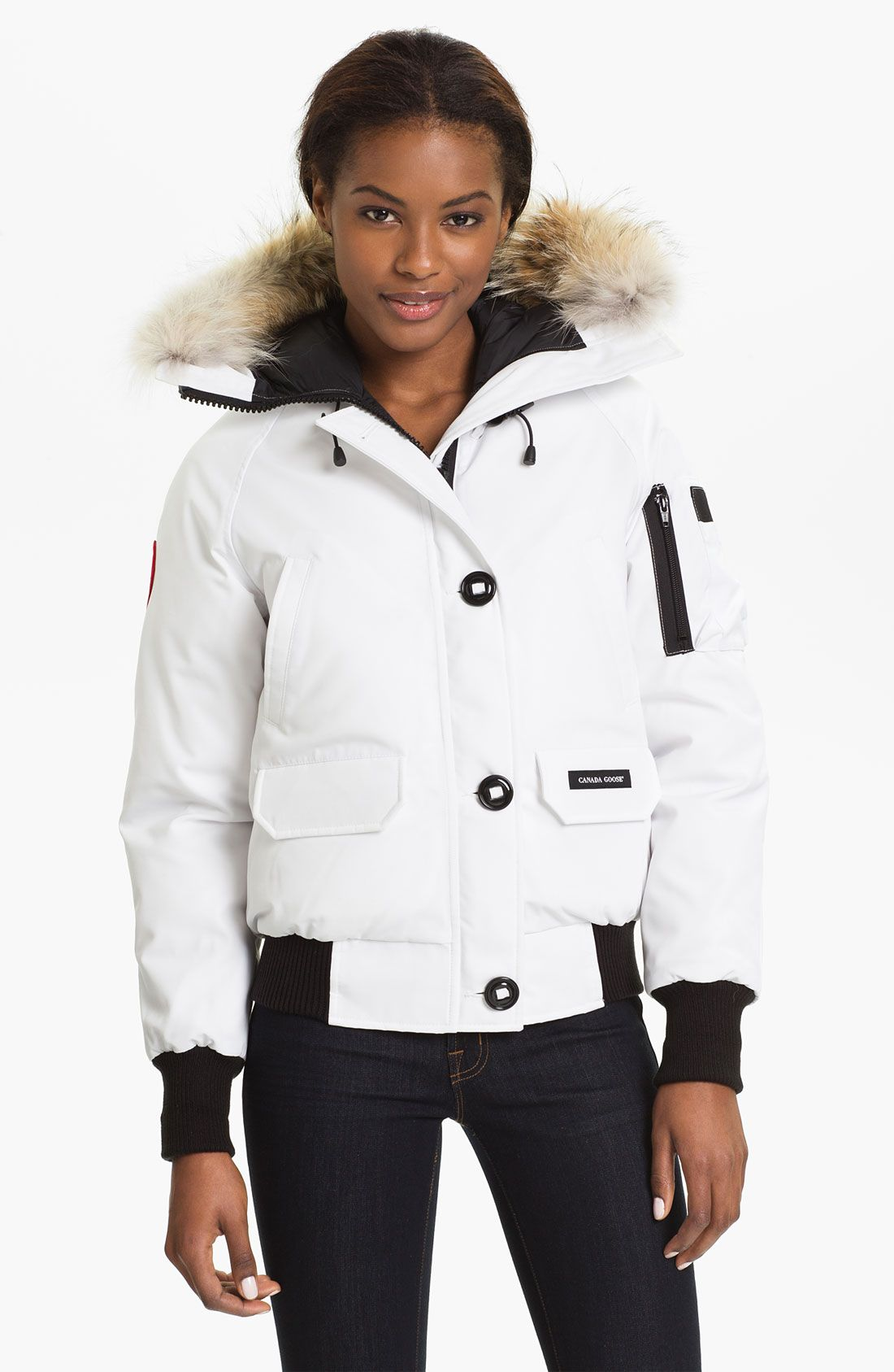 bea1b20f3 Canada Goose White Chilliwack Down Bomber Jacket with Genuine Coyote ...