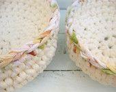 Eco friendly large fabric crochet white cream nesting bowls