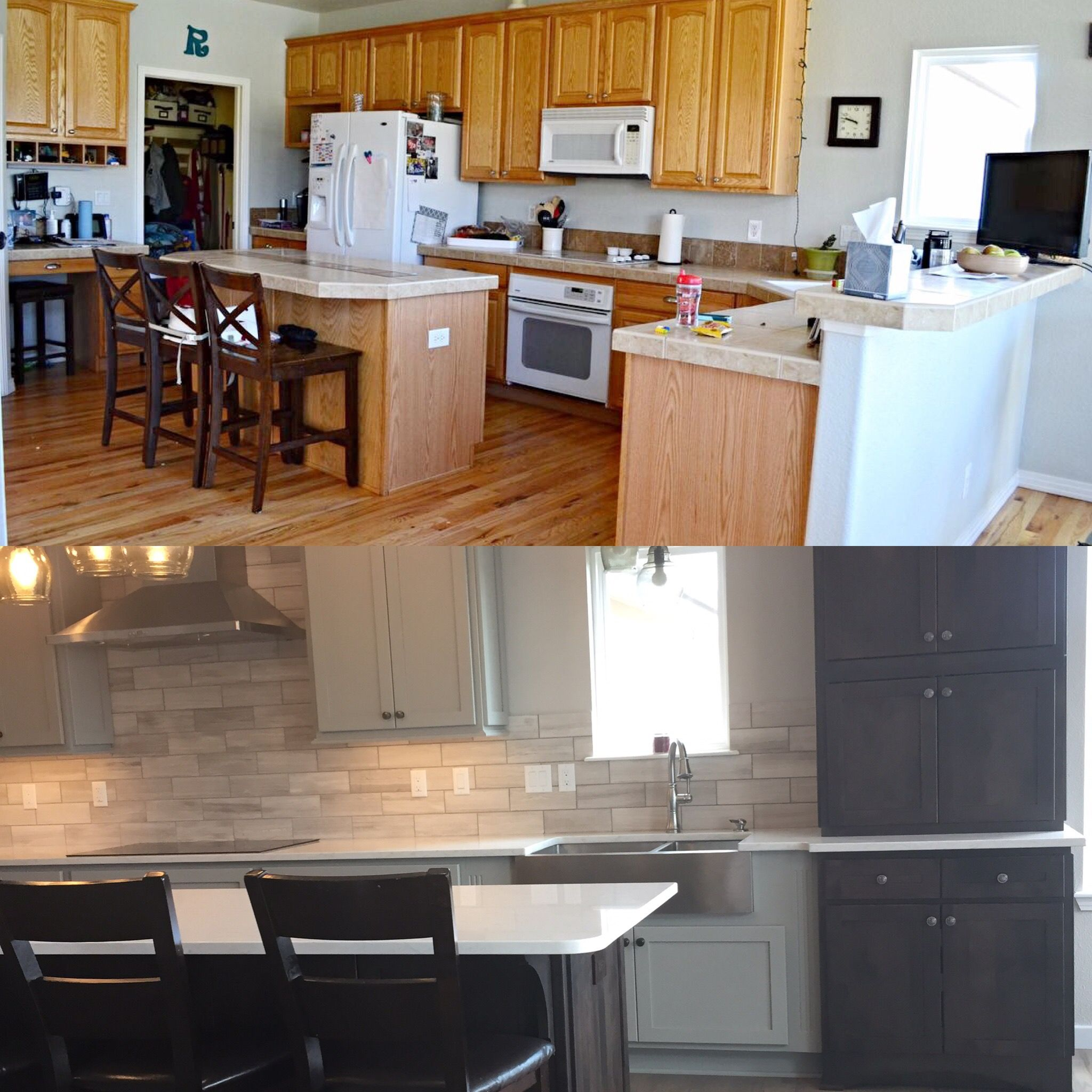 Before and After Kitchen Remodel Grey kitchen cabinets in Boulder ...