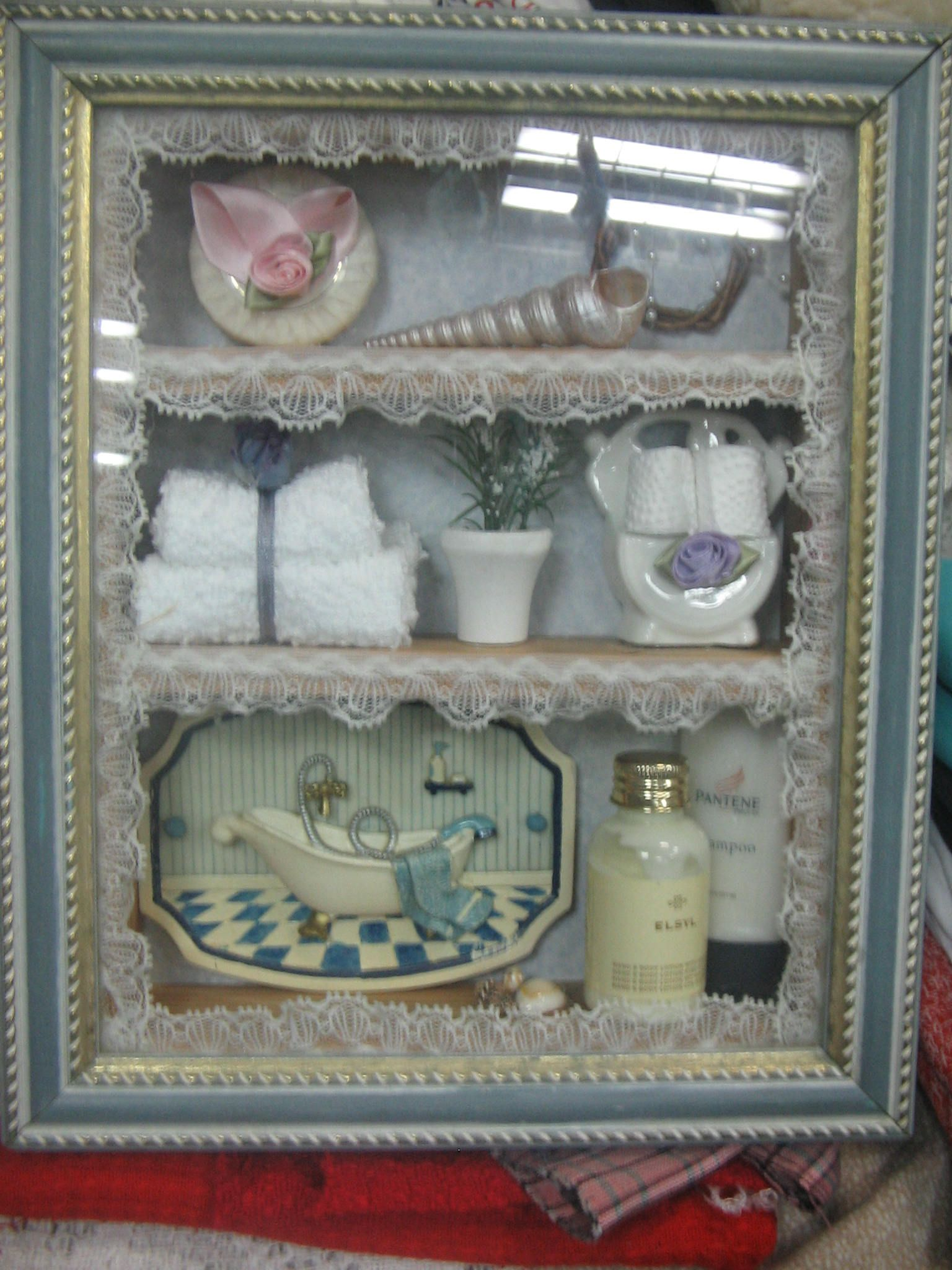 Nice Showcase Bathroom Miniature Shadow Box In Wooden Case Wall