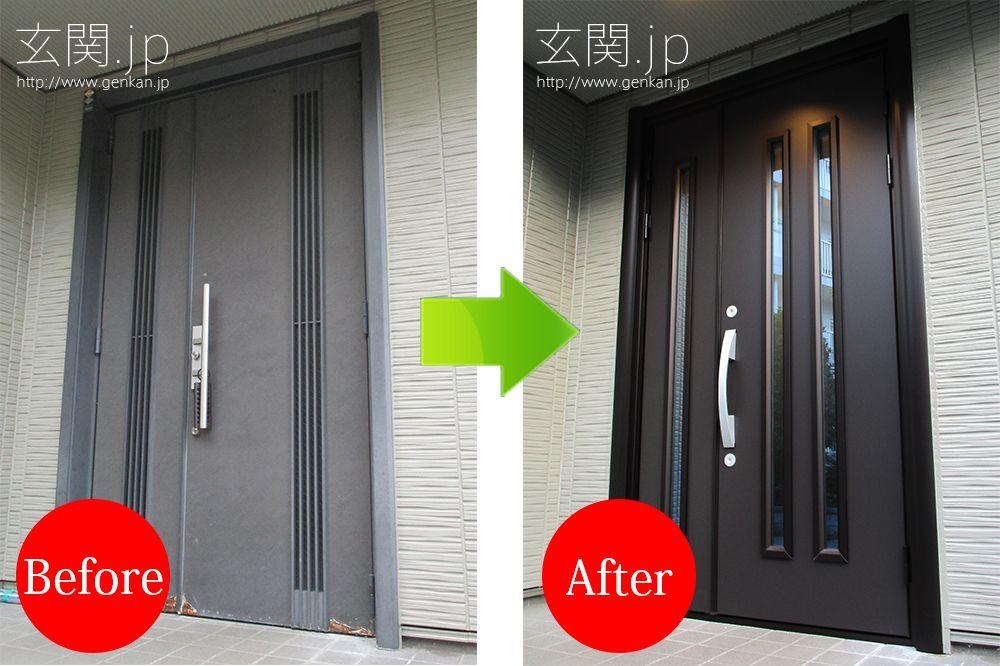 玄関ドア 引き戸から開き戸へのリフォーム交換 三協アルミ 玄関ドア 玄関ドア 引き戸 玄関