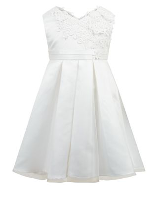 Perfect for weddings and other special occasions, our Vera ivory occasion dress for baby girls is adorned with 3D lace flower appliqués across the bodice, an...