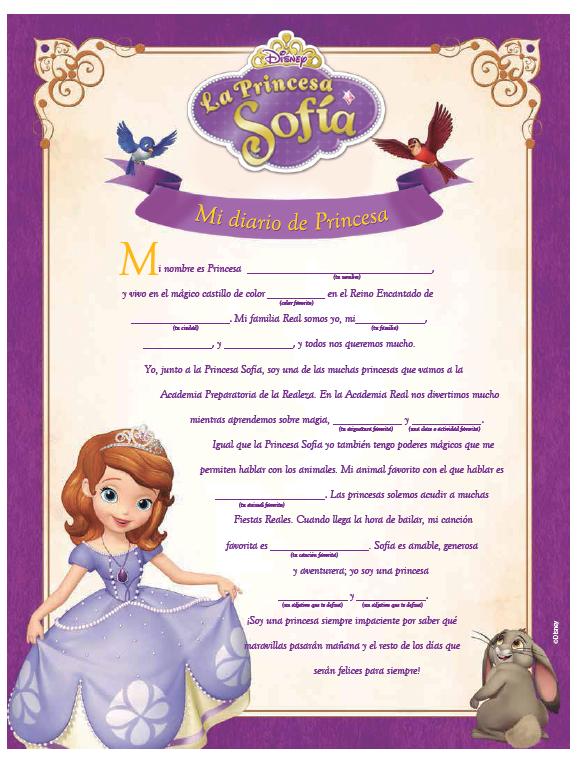 Diario Cumpleaños Princesa Sofia Princesa Sofia Fiesta Princesa Sofía
