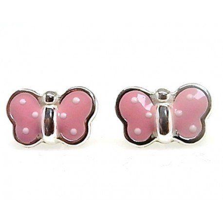 9c73222b9976 Pendientes mariposas rosas de Plata ¿Buscas Pendientes infantiles ...