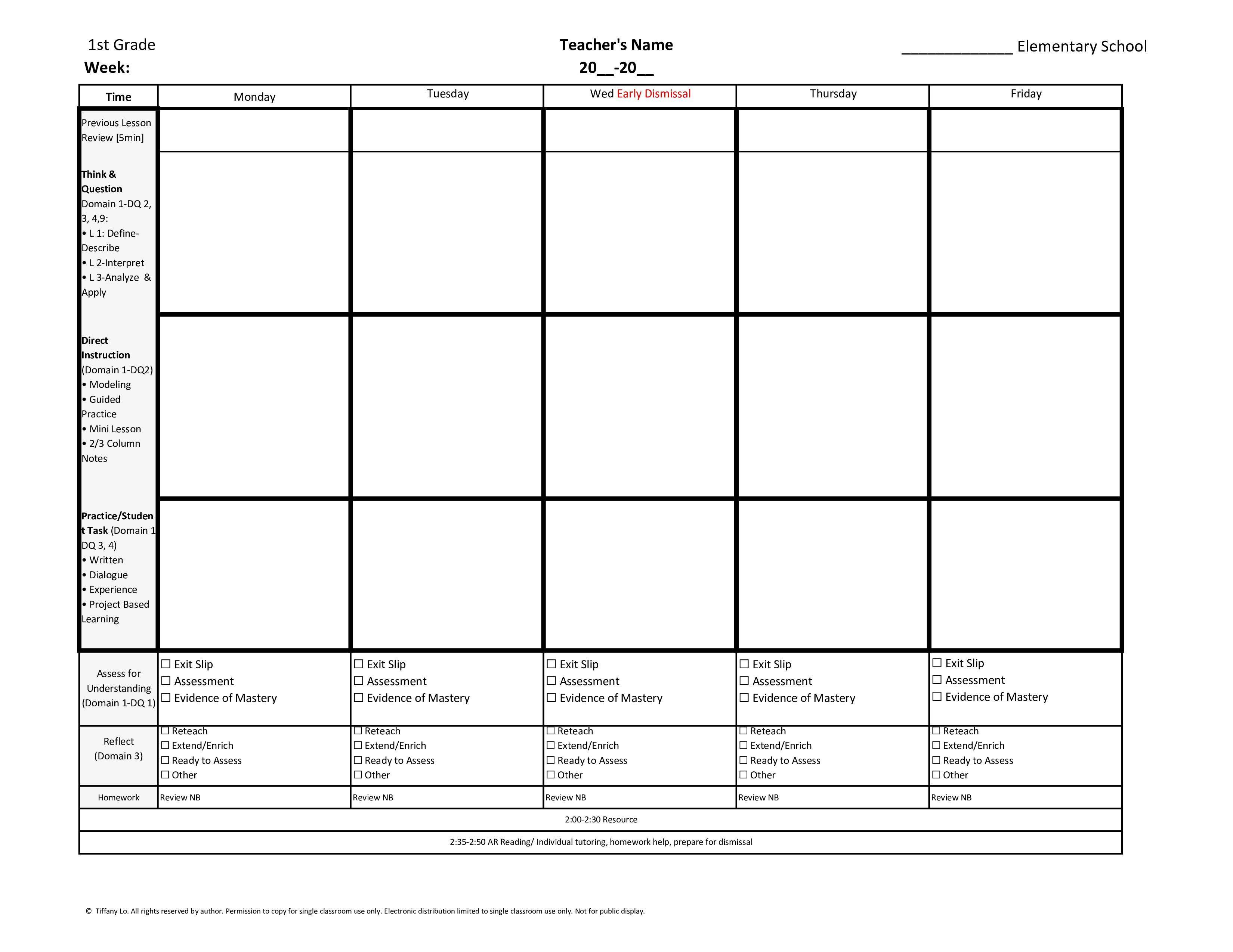 20 Lesson Plan Template First Grade in 2020 Preschool