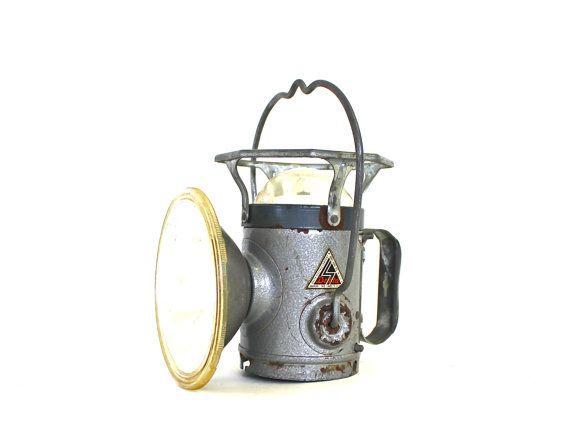 Industrial Decor - Vintage Miners Light - Vintage Miners Lantern - Vintage Delta Lantern. $28.50, via Etsy.
