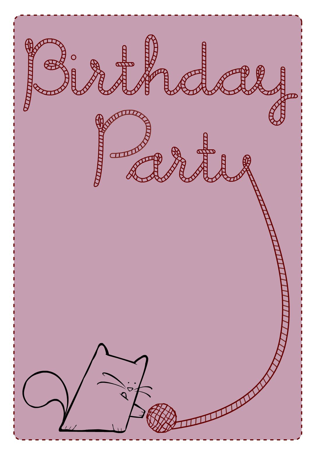 Free Printable Birthday Party Cat Invitation