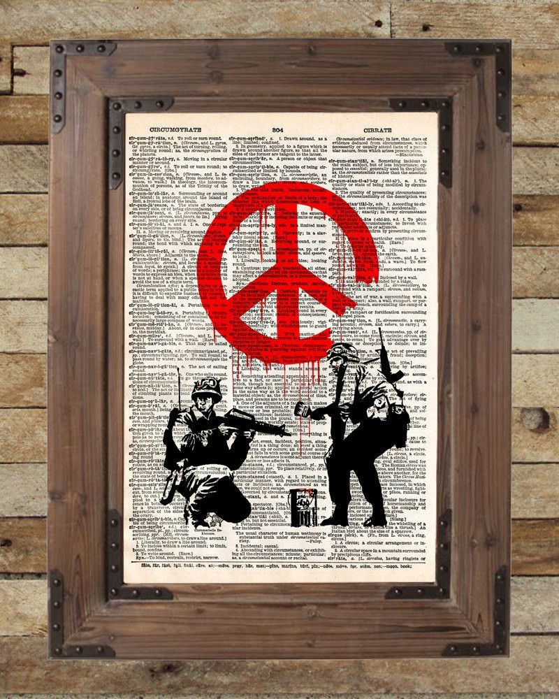 Graffiti art on wood - Banksy Graffiti Art Peace Soldier S Vintage Dictionary Page Book Art Print