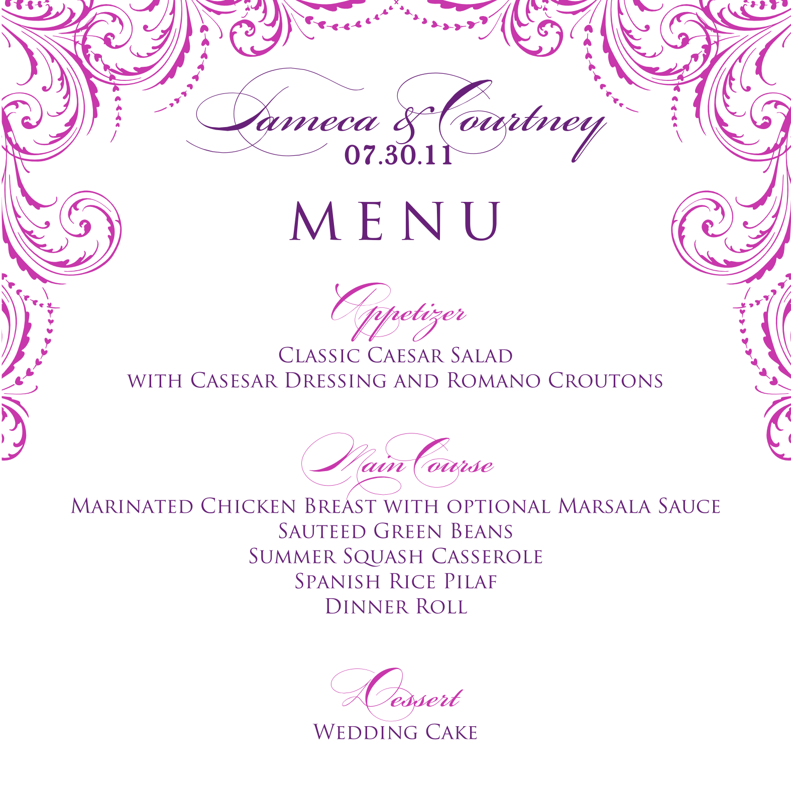 Wedding Programs  Signatures By Sarah Wedding Menu And Program