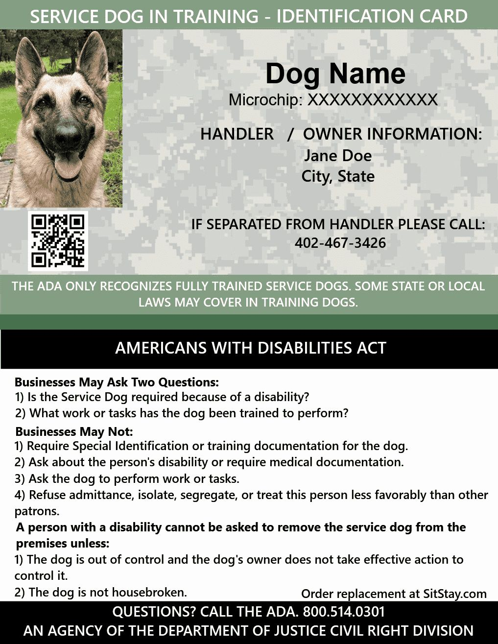 Service Dog Id Card Template Free Download Awesome Id Card