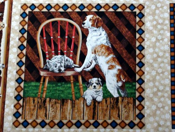 Quilt blocks. Dog fabric panel. Puppy quilt by thepanelplace