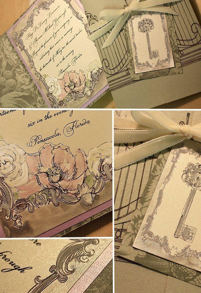 Sage and Lavender, Secret Garden Handmade Wedding Invitation is part of Secret garden Invitations -