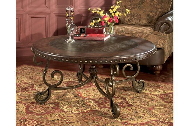Dark Stained Wood Round Coffee Table With A Nailhead Trim Will Enhance Your  Living Room