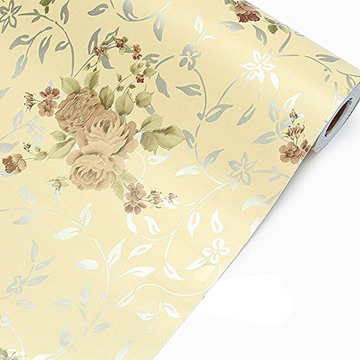 Annodeel Self Adhesive Shelf Contact Paper Non Slip 17x78 Inches Retro Peony Vintage Floral Wallpapers Floral Wallpaper Vinyl Paper