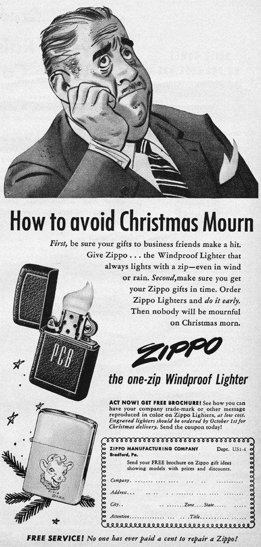 How To Avoid Christmas Mourn Vintage Zippo Advertisement From 1951 Old Advertisements Old Ads Zippo Lighter