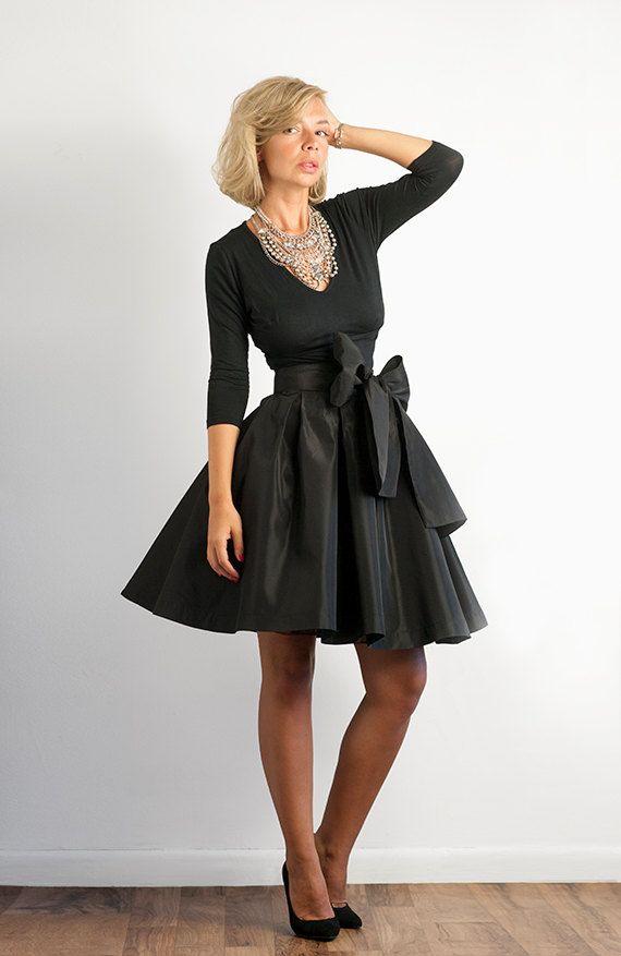4f3bf93eb24 Bow Belted Full Black Taffeta Skirt.  130.00