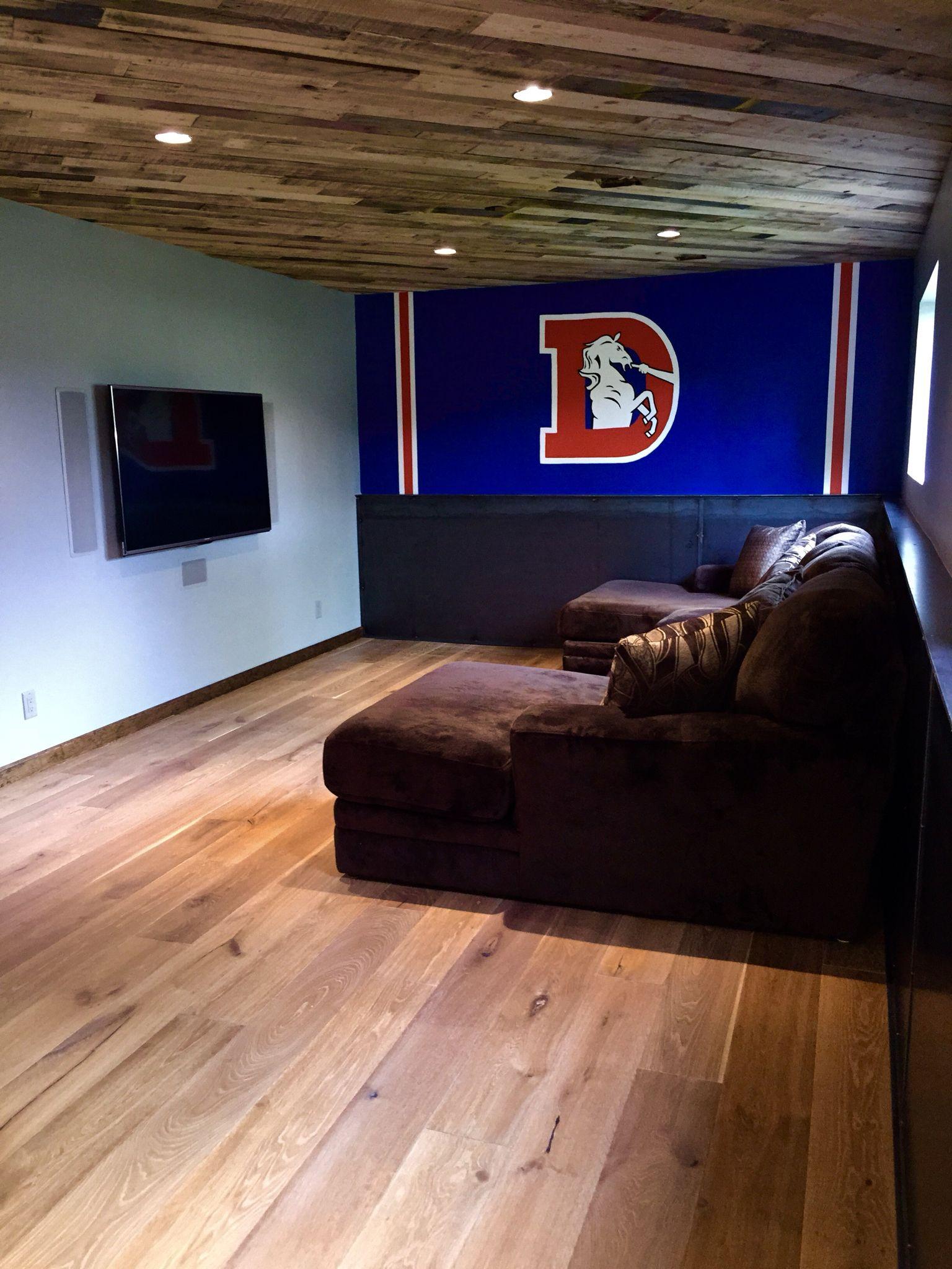Bonus room man cave denver broncos pallet ceiling for Denver broncos bedroom ideas