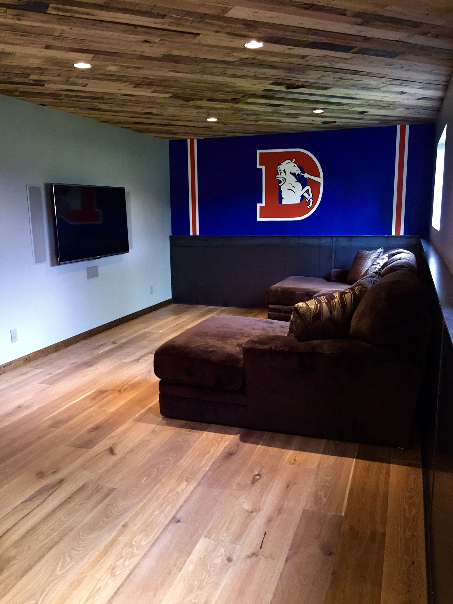 Bonus Room, Man Cave, Denver Broncos, Pallet Ceiling, Metal Wall,