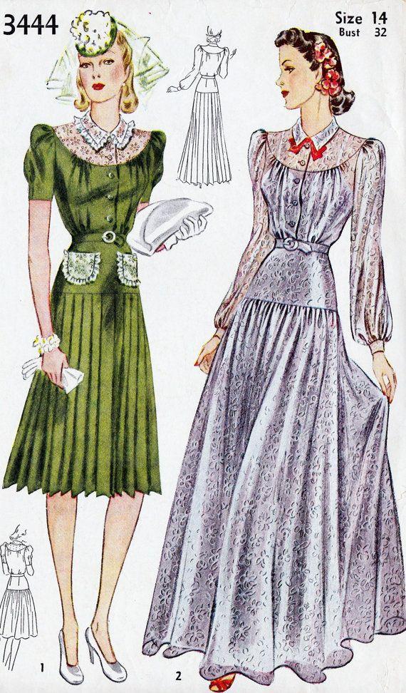 Sew Something Vintage 1940s Fashion: 1940's Misses Evening Dress Or Afternoon Dress, Vintage
