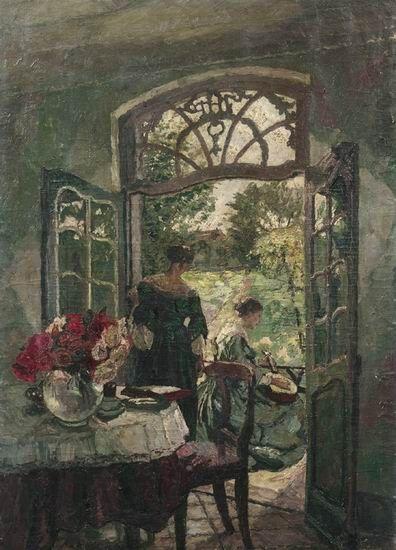 In Kaldenkirchener garden shed, August Von Brandis. Germany (1862 - 1947) German Impressionism