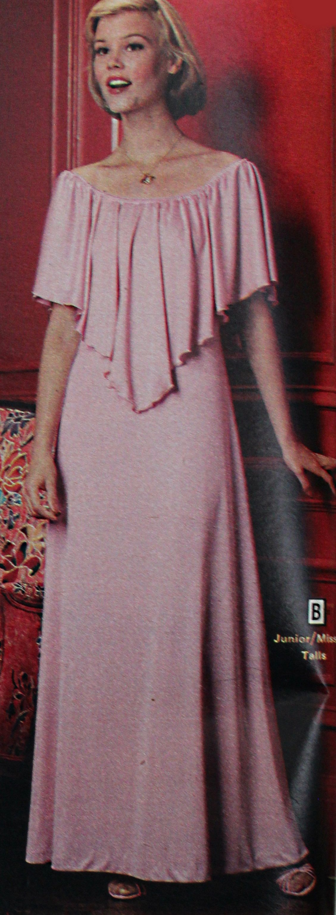 1978 Pink Evening Gown Evening Dress Fashion 1970s Fashion Women Dresses Pink Evening Gowns [ 3070 x 1129 Pixel ]