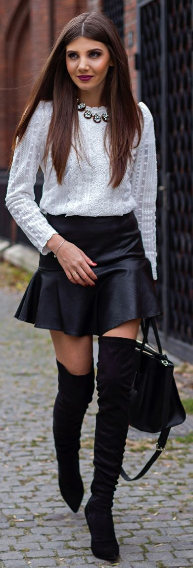 White Beaded Lace Blouse, Leather Skirt & Over the Knee Boots ...