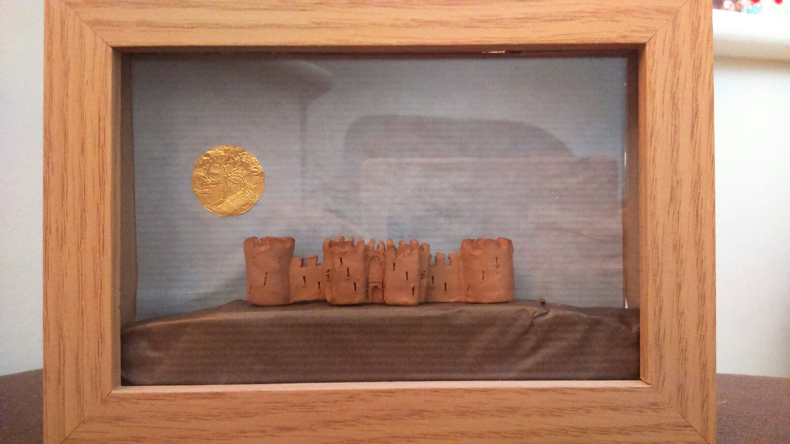 Castle, air-drying clay with paper and foil
