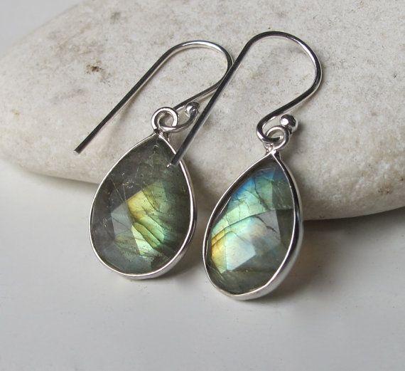 Silver Labradorite Earring- Labradorite Earring- Stone Earring- Gemstone Earring- Dangle Earring- Pear Shaped Earring on Etsy, $46.99