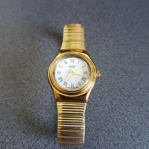 Swiss Metal 1995 BandGold Watch Tone Swatch Irony Tc51ulKJF3
