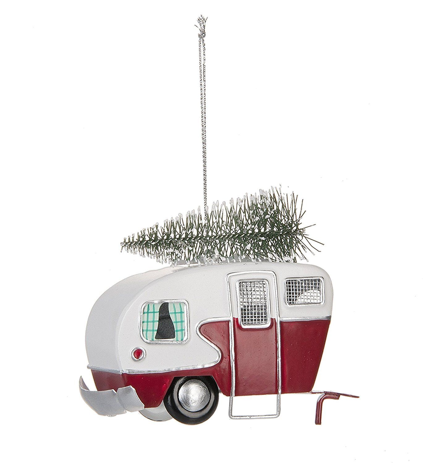 Amazoncom Red And White Vintage Vehicle Shaped Christmas Ornament With
