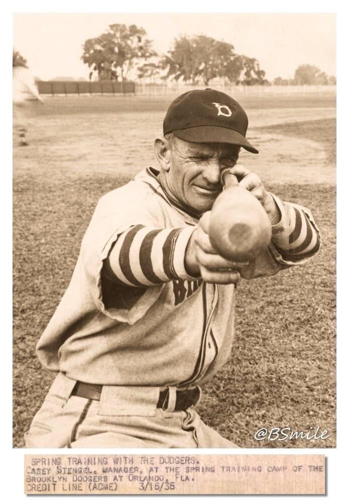 Casey Stengel Brooklyn Dodgers Spring Training March 1935 Casey Stengel Baseball History Baseball