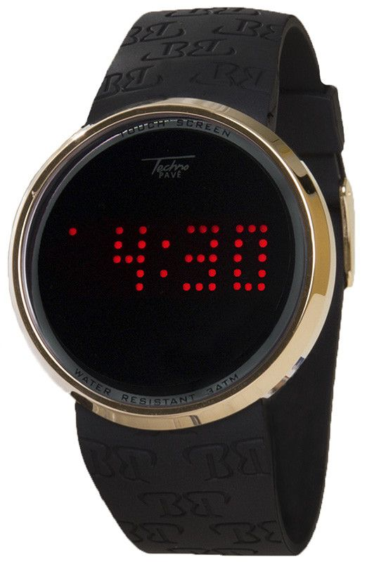 Touch Screen Digital Watch By Techno Pave Nice Gold Plated Bezel