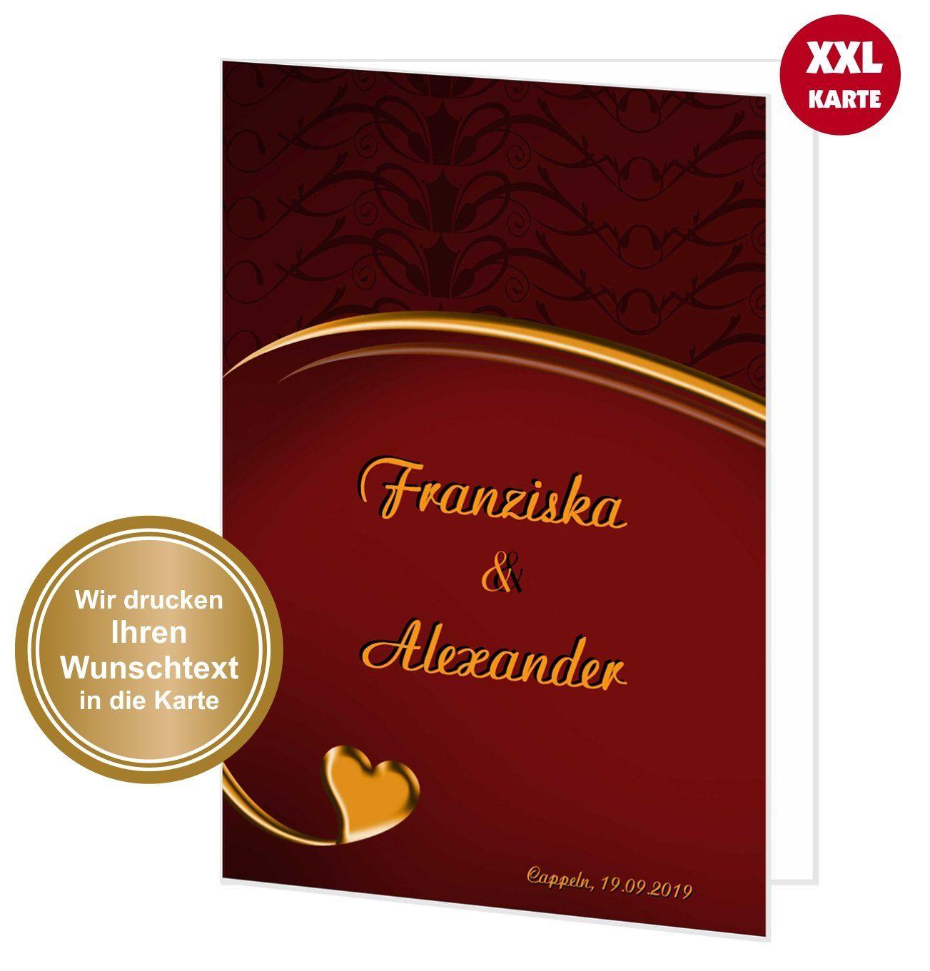 Xxl Gluckwunschkarte Hochzeit Herz Geschwungen Xxl Karten Hochzeit