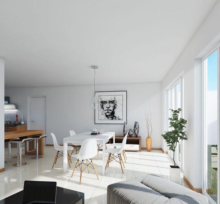 mesa y sillas blancas para el comedor moderno