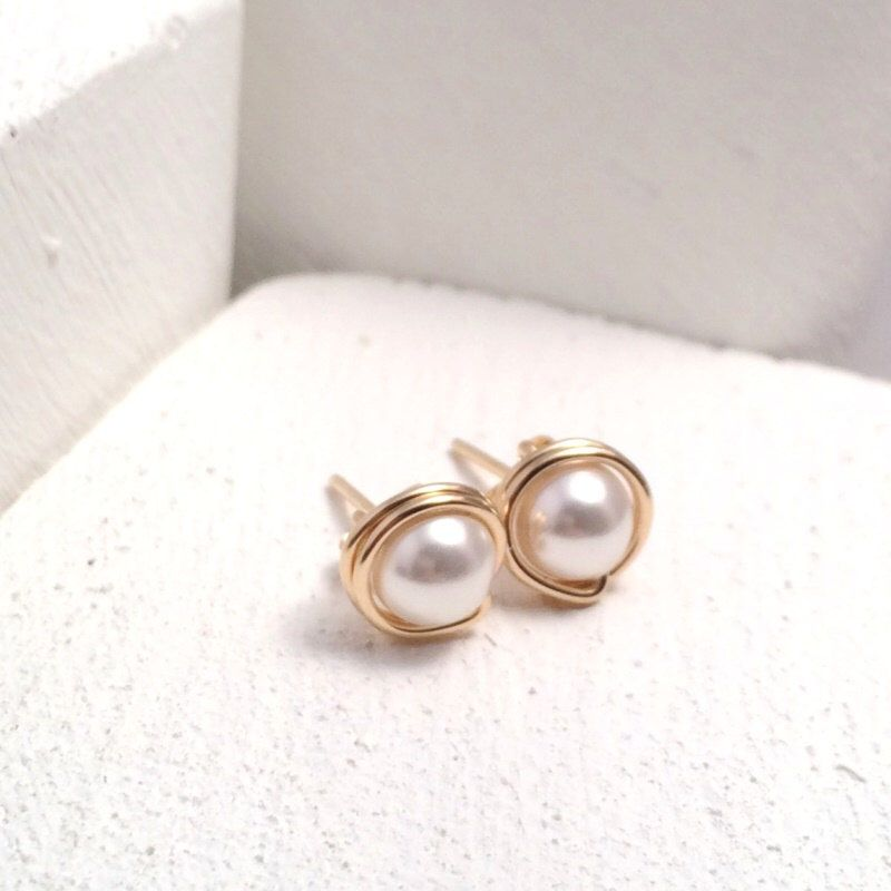 Pearl Stud Earrings Gold Filled Studs Uk By Kiandesigns