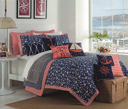 Max Studio Anchor Nautical Design Bedspread Full/Queen Quilt Coverlet  Cotton Reversible Quilted Bedding Sail