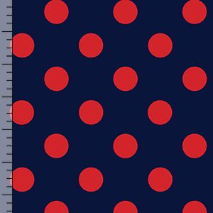 1e40dcdc927 Red Dot on Deep Navy Nylon Spandex Knit Fabric | Sew Good, Sew Good ...
