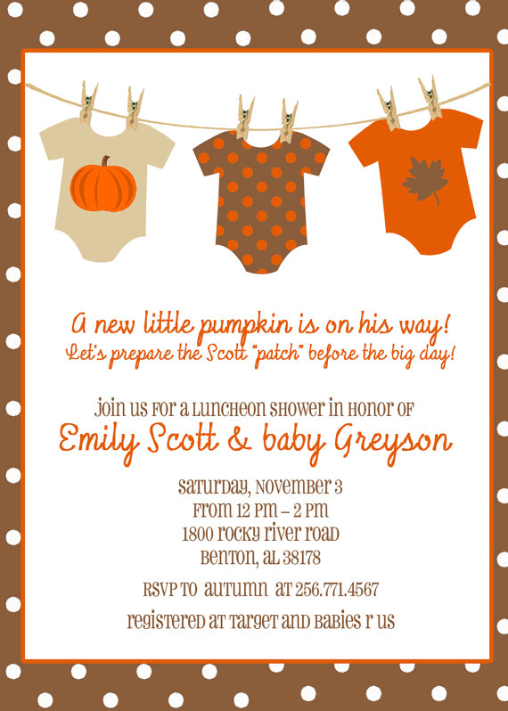 Fall Autumn Pumpkin Baby Shower Onesies On Clothesline 5x7 Print Your Own Etsy 15 00