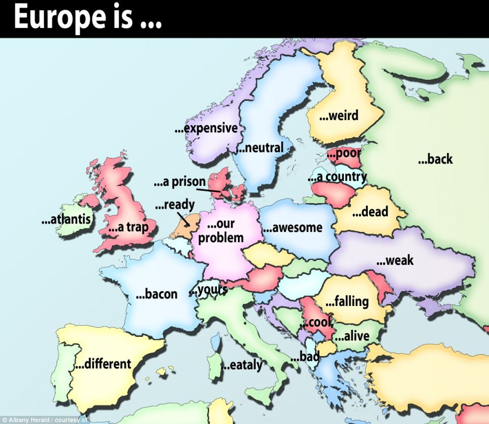 Britain is a trap and france is bacon hilarious results from a map featuring alternative names for the countries of europe based publicscrutiny Gallery