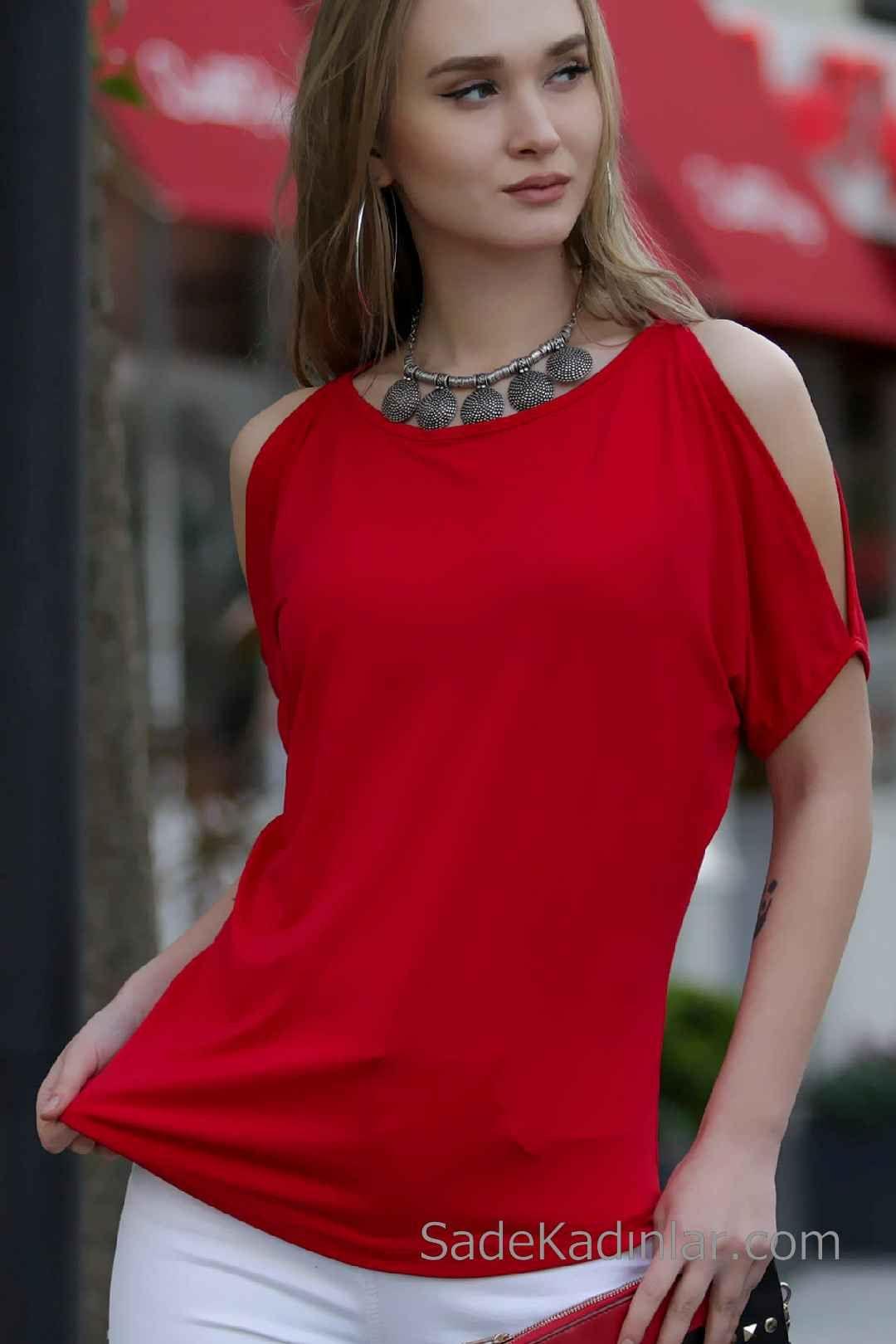 2020 Kirmizi Abiye Bluz Modelleri Kisa Kollu Kayik Yaka Omuz Dekolteli Moda Stilleri Bluz Modelleri Bluz