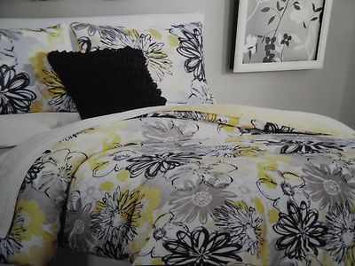 Cynthia Rowley Grey Black Yellow White Mod Floral Full Queen
