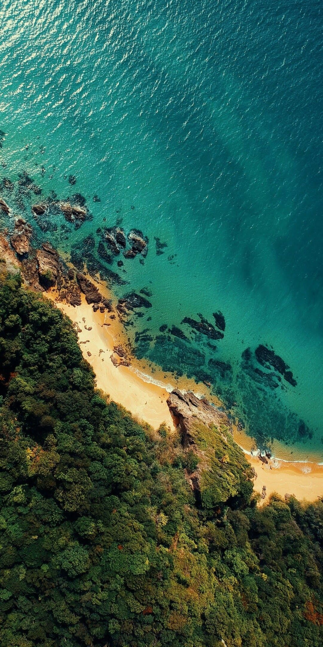 A beautiful beach painted from the drone
