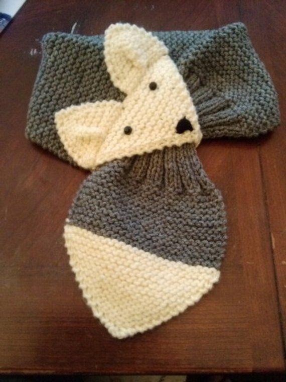 Einstellbare Fuchs Schal grau Hand stricken Halswärmer für | Etsy
