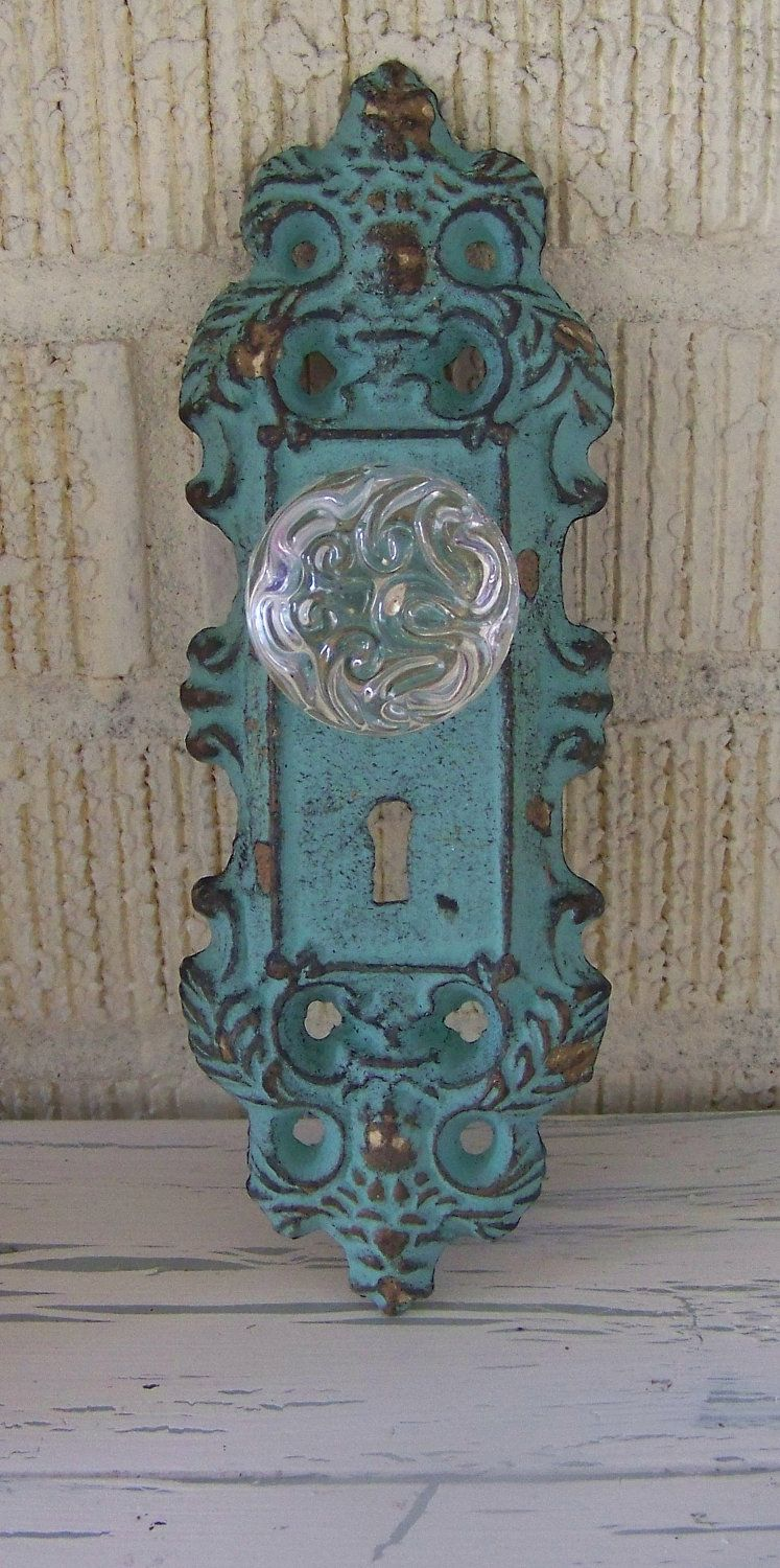 Cast Iron Door Plate With Acrylic//Glass Knob In Antique Turquoise//Teal Accent