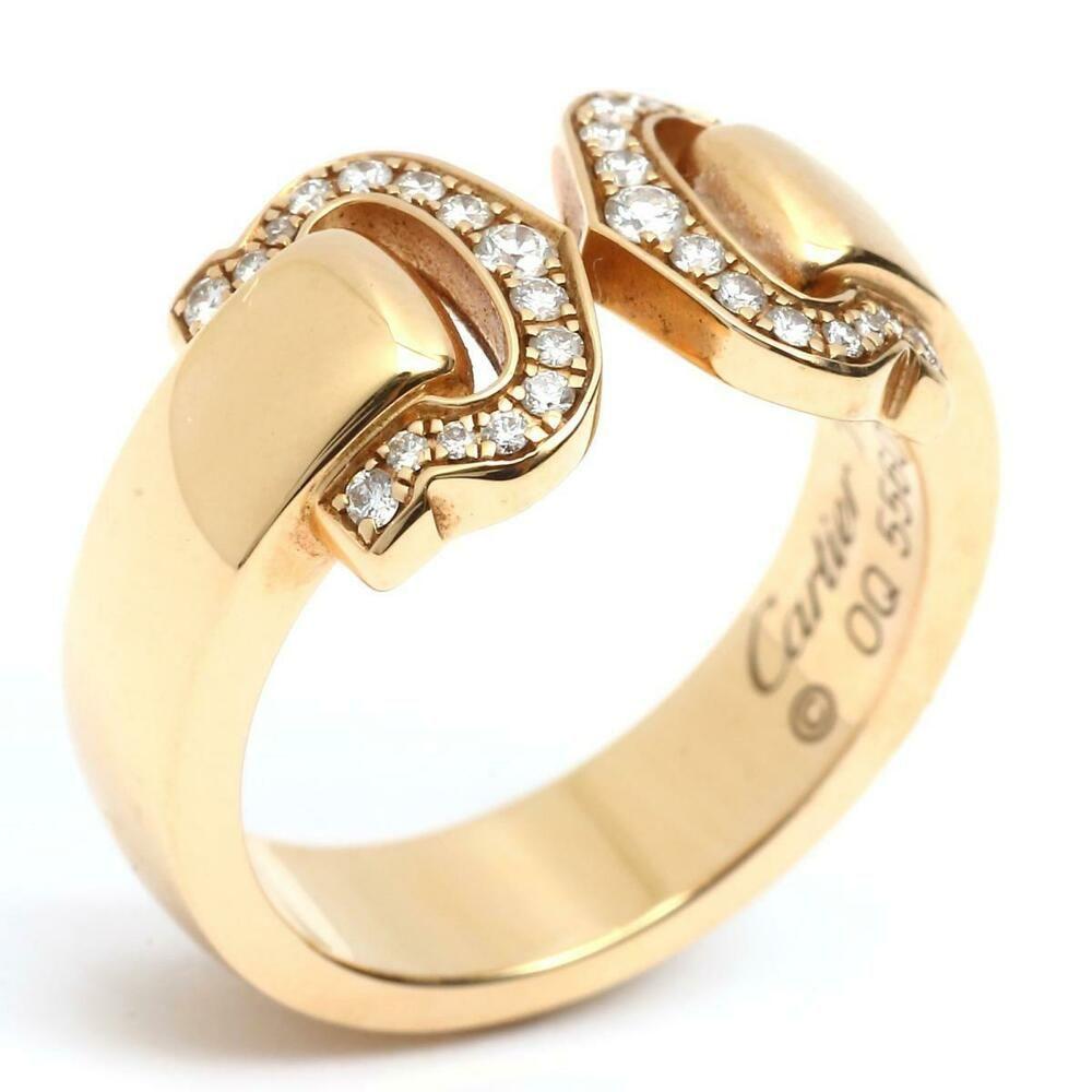 ef405a2b99f67 eBay #Sponsored Authentic Cartier 2C Diamond Ring 18KYG(750) Yellow ...