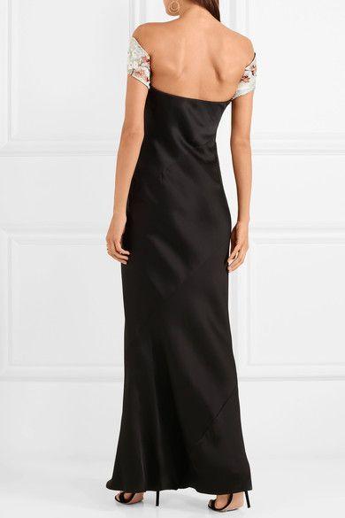 Embellished Off-the-shoulder Silk-blend Satin Gown - Black Giorgio Armani Low Price Fee Shipping Online u8UiZ