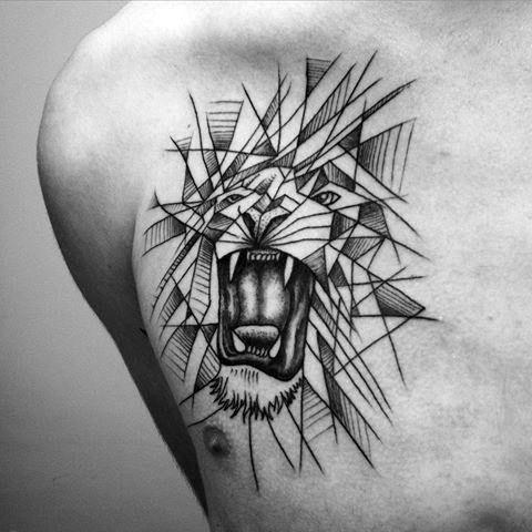 Top 57 Geometric Lion Tattoo Ideas 2020 Inspiration Guide Geometric Lion Tattoo Lion Chest Tattoo Chest Tattoo Men