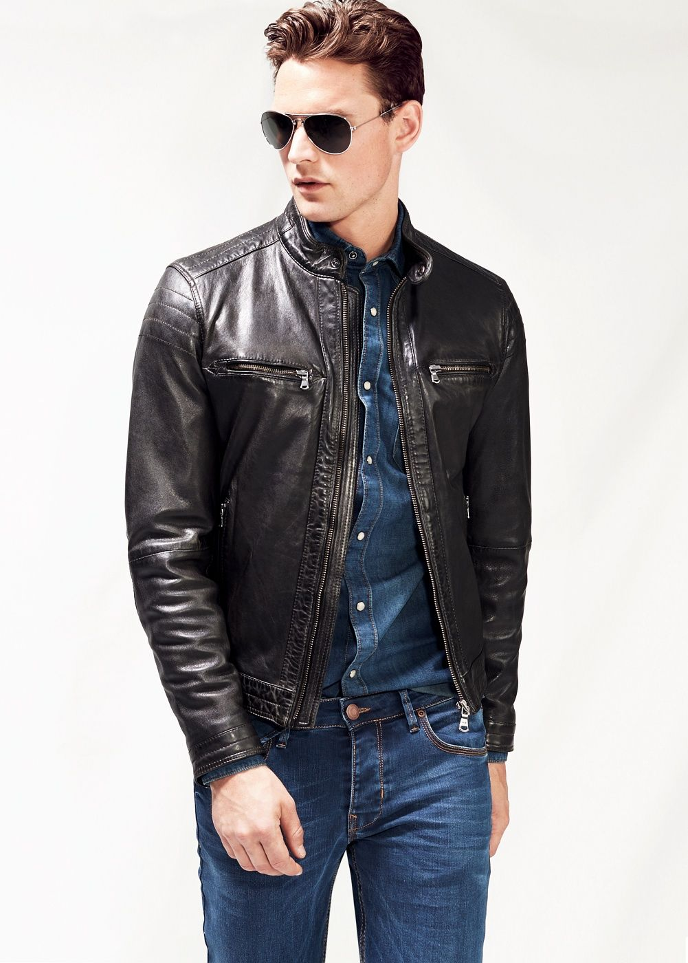 Quilted panel leather jacket Man Leather jackets